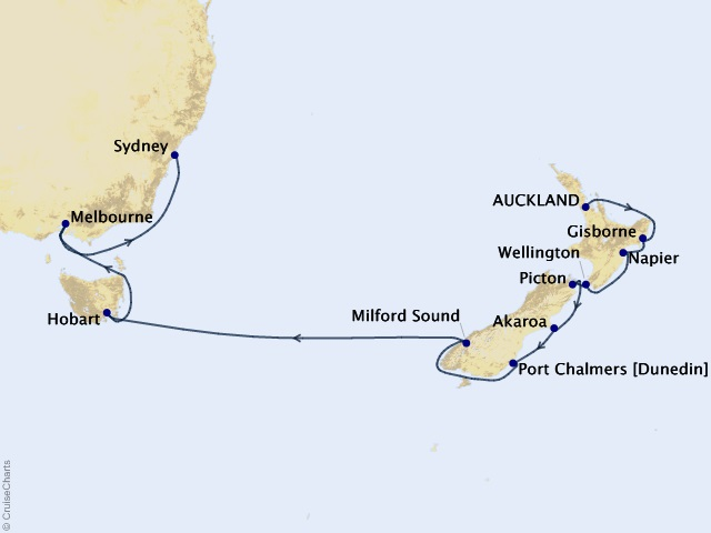 15-night New Zealand and Australia Voyage Map
