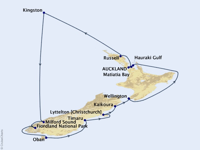 14-night South Pacific Isles Cruise Map