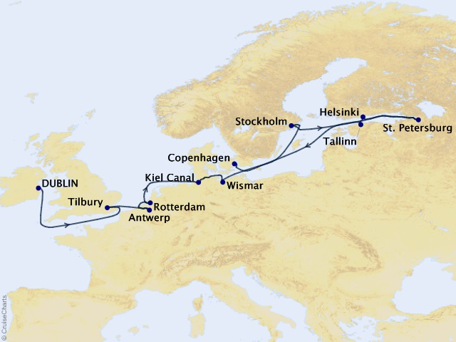 14-night Northern Legends Cruise Map