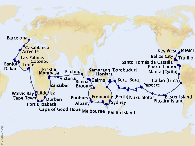 140-night World Cruise – Our Extraordinary Oceans Map