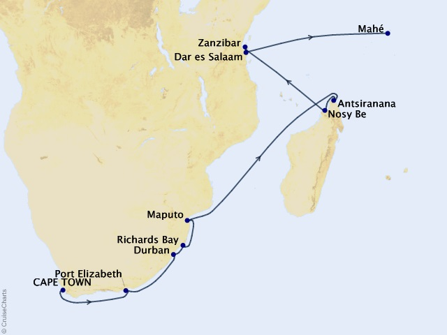 21-night The Tale of Tales – World Cruise 2022 – Segment 4 Map