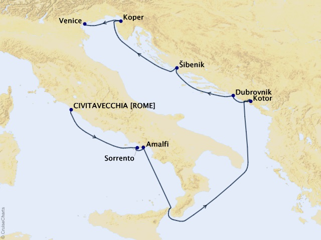 9-night Amalfi to Dalmatian Coast Voyage Map