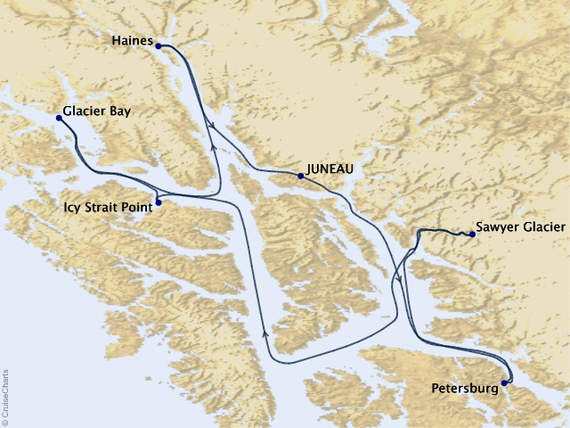 7-night Southeast Alaska Cruise Map