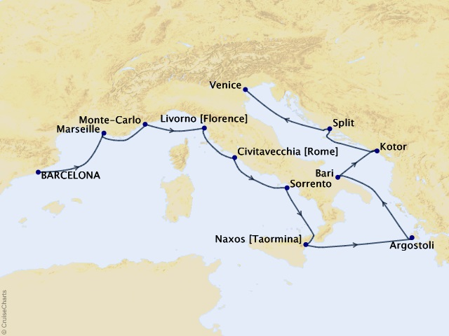 12-night Relive the Renaissance Cruise Map