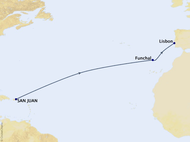13-night Trans-Atlantic Cruise Map