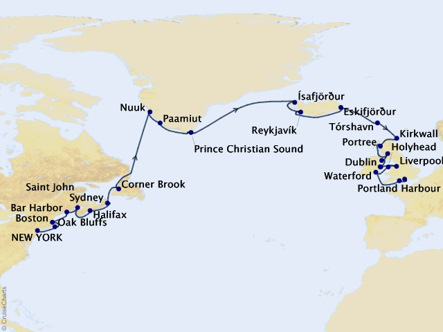 30-night Between Fire & Ice Cruise Map