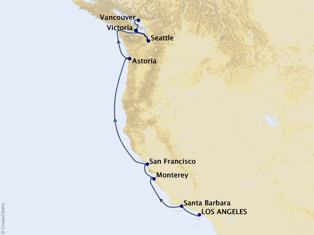 9-night Pacific Coast Treasures Cruise Itinerary Map