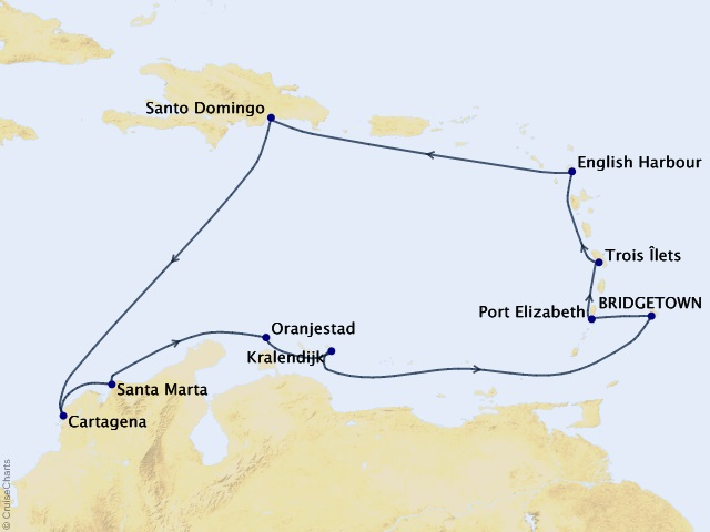 14-night Holiday Caribbean Cruise Map