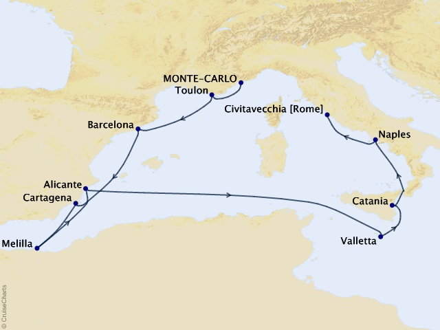 10-night Iberian Immersion Voyage Map