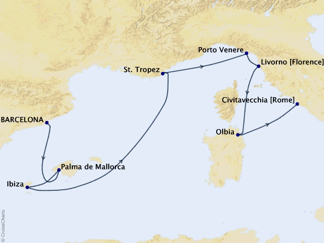 9-night Las Ramblas to Rome Cruise Map