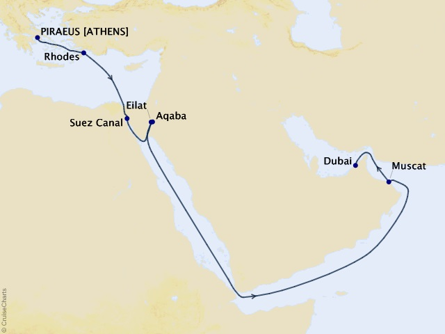 16-night Beyond the Acropolis and Aqaba Cruise Map