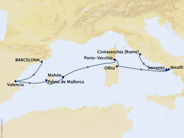9-night Mediterranean Islands Voyage Map