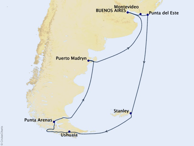 16-night Argentina and Uruguay Voyage Map