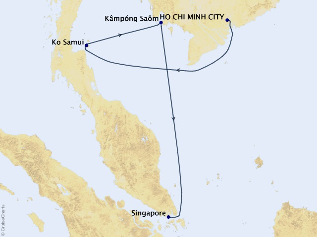 7-night Stars of Southeast Asia Cruise Map
