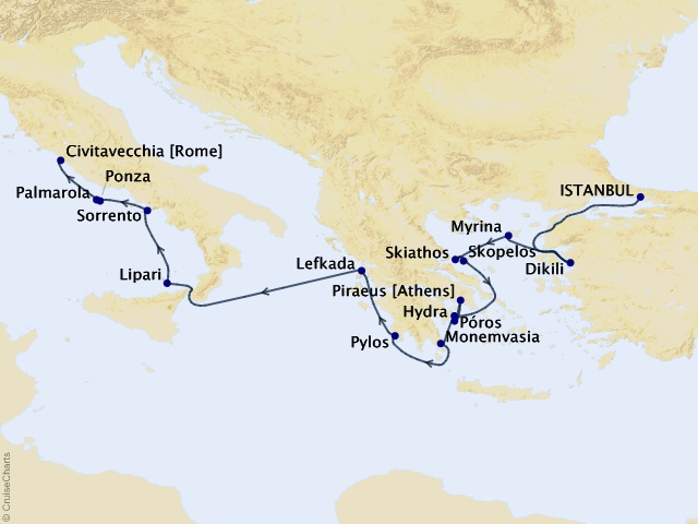 16-night Grand Voyage – Istanbul to Rome Cruise Map