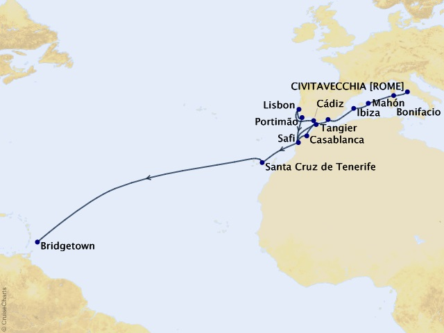 28-night Westbound Atlantic Ocean Crossing Cruise Map