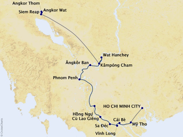 12-night Timeless Wonders of Vietnam, Cambodia, and the Mekong Cruise/Land Package Map