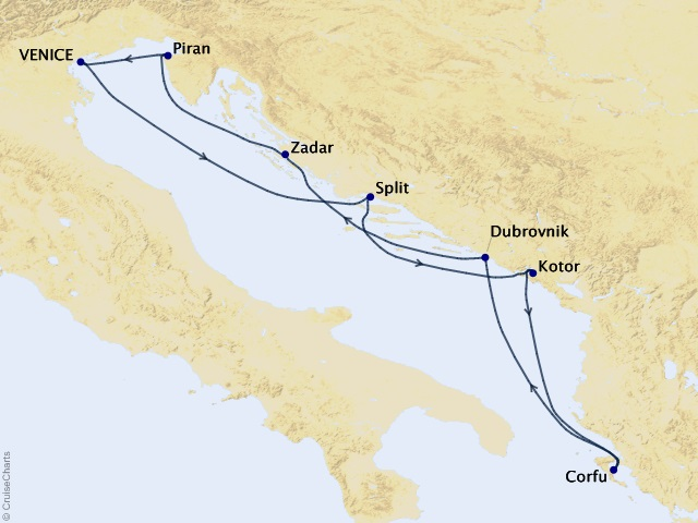 7-night Adriatic Cruise Map