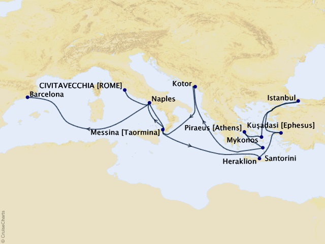 14-night Adriatic and Aegean Medley Cruise Map