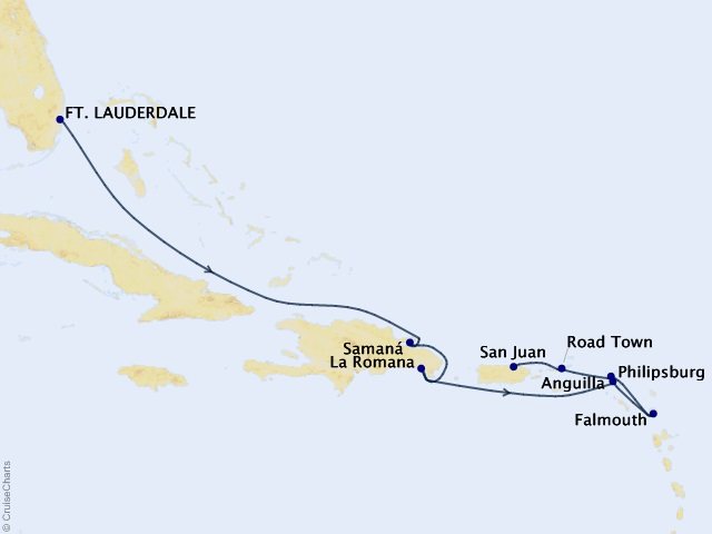 Eastern Caribbean Cruise Map