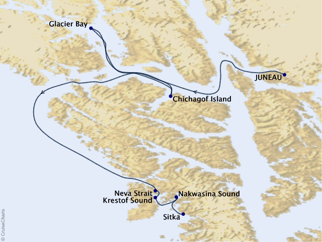 7-night Northern Passages & Glacier Bay Cruise Map