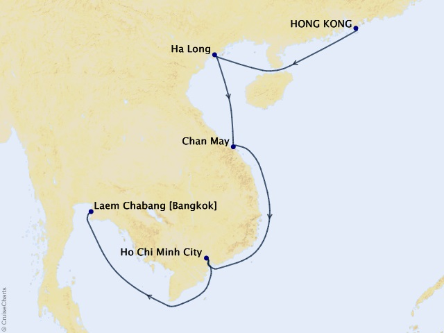 10-night Asia Cruise Map