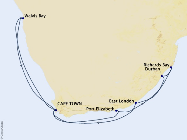 15-night South Africa Intensive Holiday Voyage Map