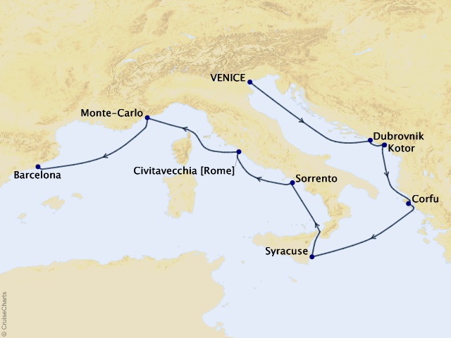 12-night Capitals of Culture Cruise Itinerary Map