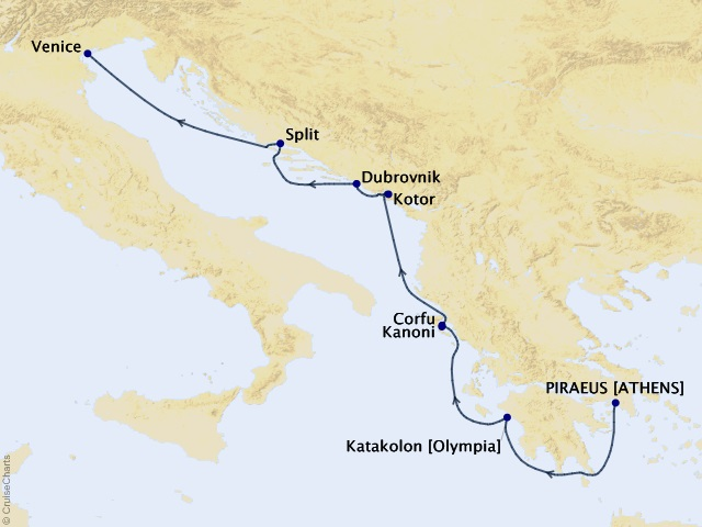 7-night Venice, the Adriatic, & Greece Cruise Map