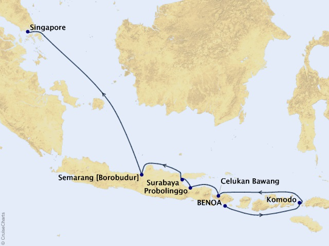 10-night Gems of the Java Sea Cruise Map
