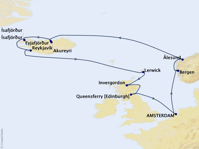 14-night Northern Isles Cruise Itinerary Map