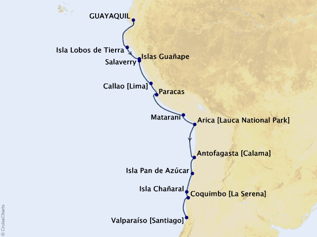 14-night South America Expedition Cruise Map