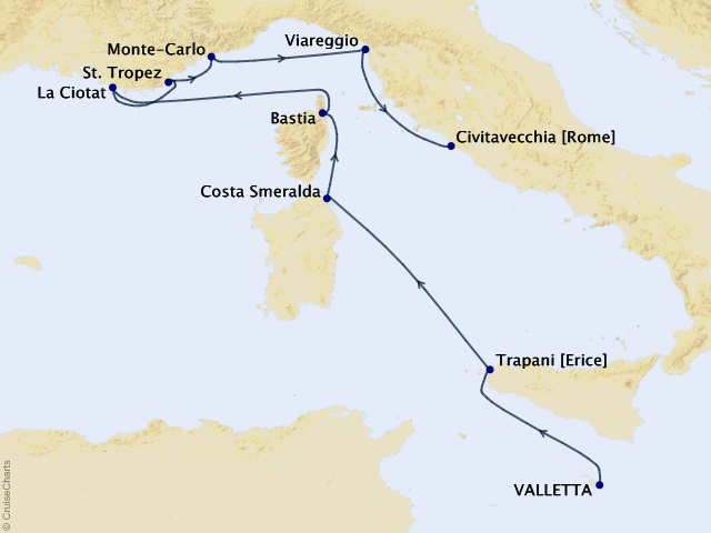 8-night Riviera & Italian Idyll Cruise Map