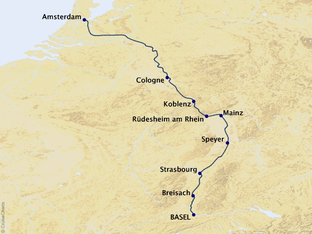 10-night Rhine Christmas Markets River Cruise Map