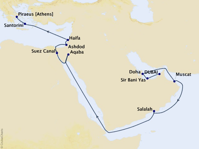 20-night Arabia and Antiquities Cruise Map