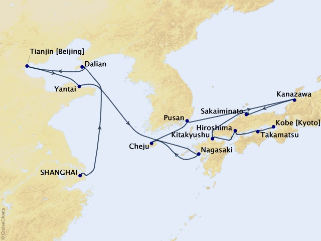 18-night Gems of China, Korea, & Japan Cruise Map