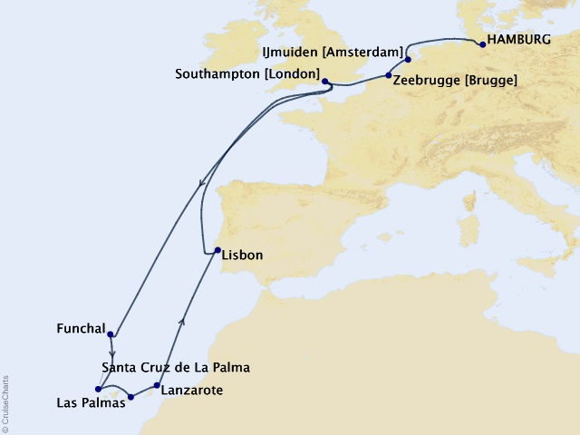 17-night Canary Islands and Madeira Cruise Map