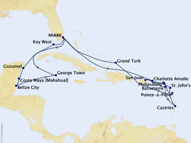 23-night Grand Journey – Connoisseur's Caribbean Cruise Map