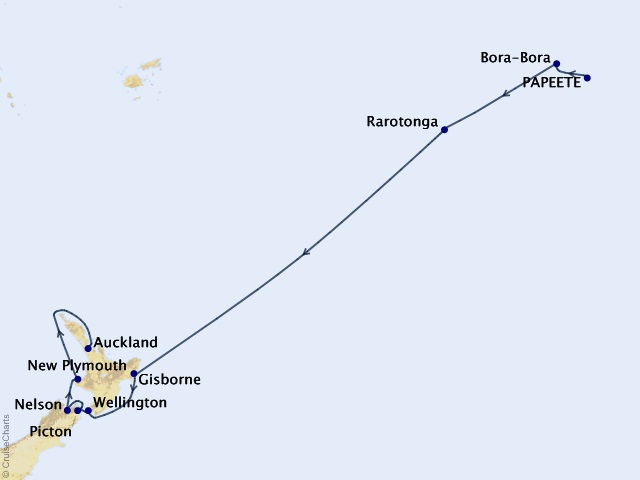 15-night Tahiti and New Zealand Voyage Map