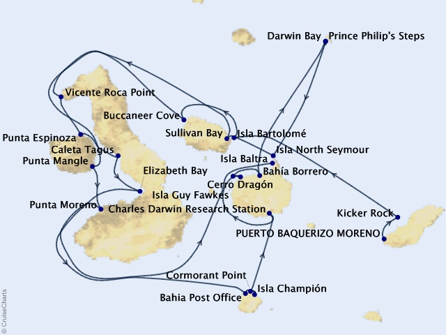 11-night Galápagos Islands Cruise Map