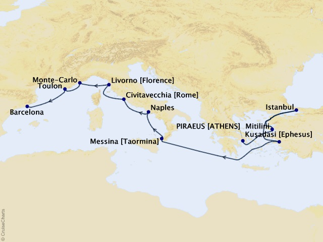 12-night Ancient Ruins of Greece & Rome Cruise Map