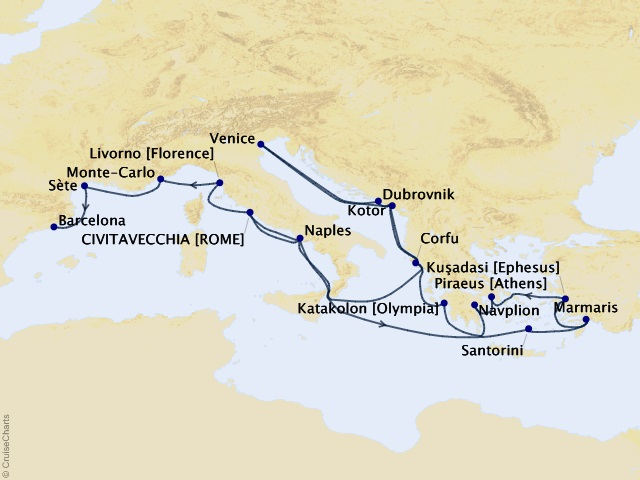 24-night Greek Odyssey and Mediterranean Romance Cruise