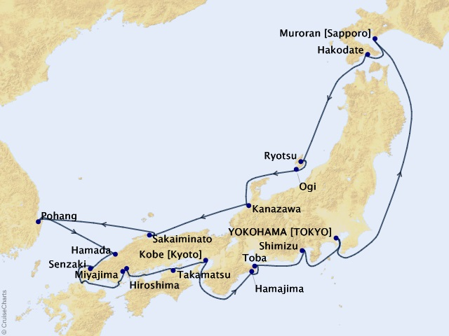 17-night Japan's Cultural & Coastal Discovery Expedition Map