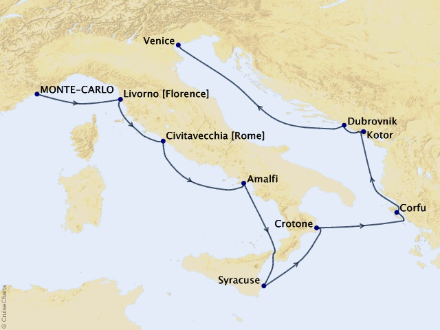 10-night Route to the Balkans Voyage Itinerary Map