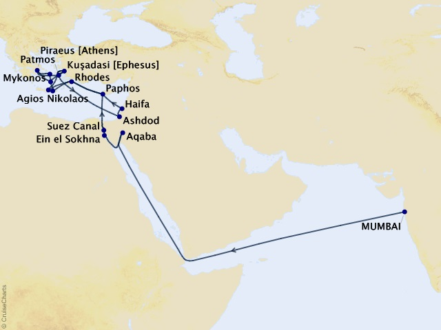 29-night Grand Journey – Arabian Sea to the Mediterranean Cruise Map