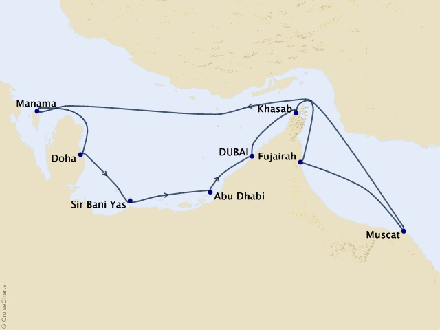 10-night Middle East Meandering Cruise Map
