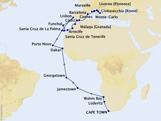 40-night Grand Journey – Africa & the Mediterranean Cruise Map