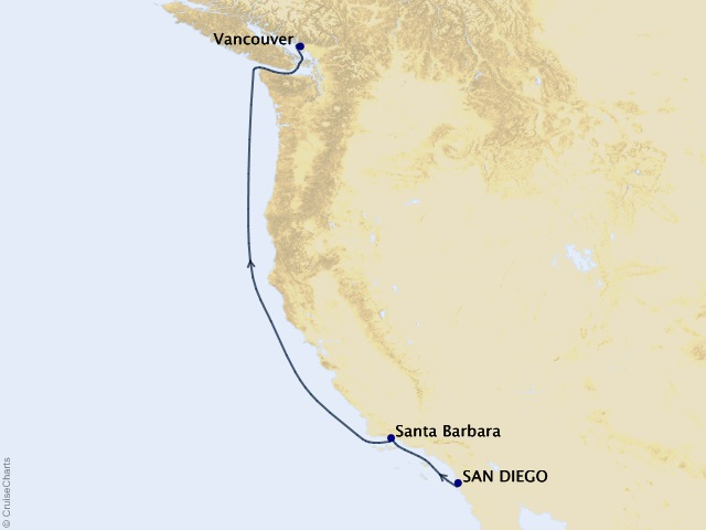 4-night Pacific Coastal Cruise Itinerary Map