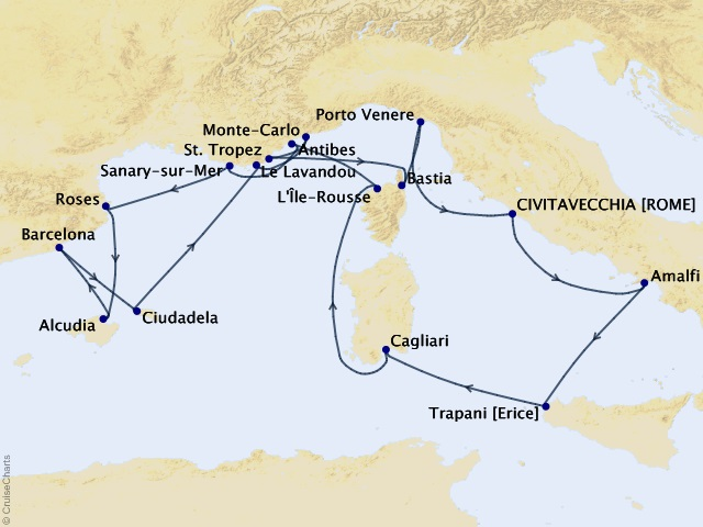 17-night Mediterranean Hideaways Cruise Map
