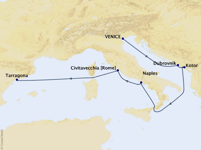 7-night Adriatic & Italy Cruise Itinerary Map
